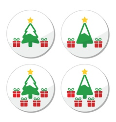 Christmas tree with presents icons set vector image vector image