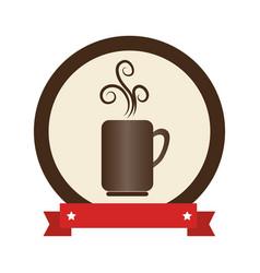 Circular frame with porcelain mug coffee with vector