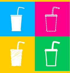 Drink sign four styles of icon on vector