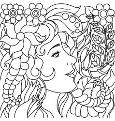 girl with flowers coloring book vector image