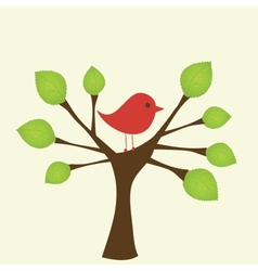 Greeting card with bird on tree branch vector