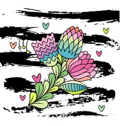 hand drawn stylish flower vector image vector image