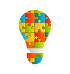 Idea lamp puzzle background vector
