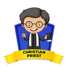 Label design with christian priest vector