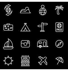 line travel icon set vector image