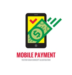 Mobile phone payment - digital money logo vector