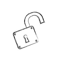 Padlock unlocked security object vector
