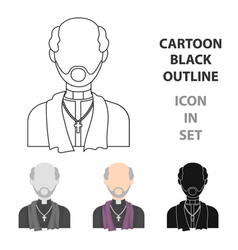 priest icon in cartoon style isolated on white vector image vector image