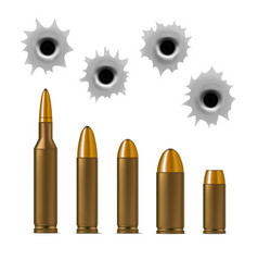 realistic detailed 3d bullets and bullet holes set vector image vector image