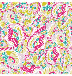 Seamless hand-drawn pattern with abstract leaves vector image