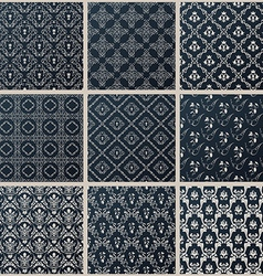 Seamless vintage backgrounds set black baroque vector