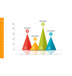 textured infographic bar chart template with 4 vector image