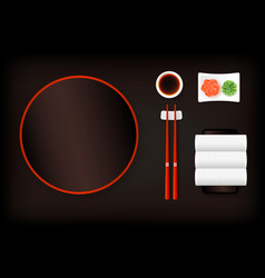 Top view of dark brown empty sushi plate with vector