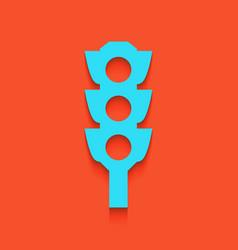 Traffic light sign whitish icon on brick vector