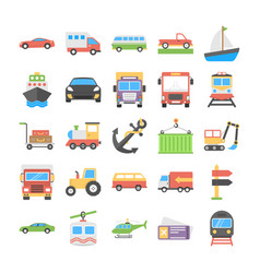 Transport flat icons collection vector