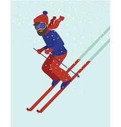 Young man skiing vector