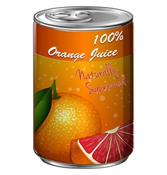 Fresh orange juice in can vector