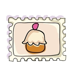 Cup cake postage stamp vector