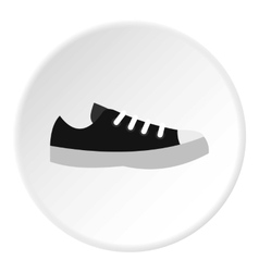 Black sneaker icon flat style vector image