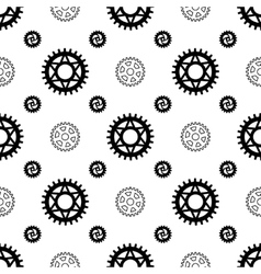 Black gears on white seamless pattern vector