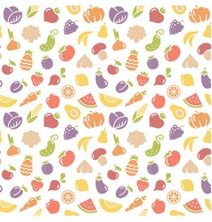 Seamless pattern fruits and vegetables vector
