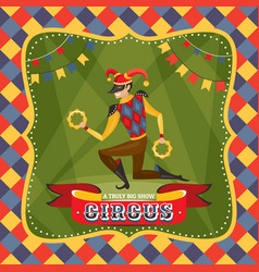 Circus card with the harlequin vector