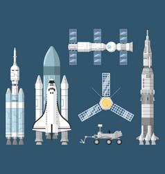 Astronautics and space technology set vector