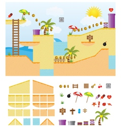Platform-game-summer-beach vector