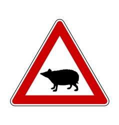 Hedgehog warning sign vector image
