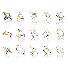 Orange and black dotted icons vector