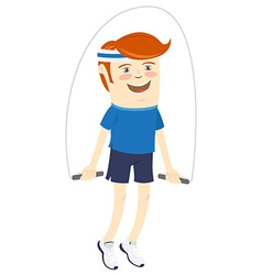 Hipster funny sportsman with skipping-rope flat vector