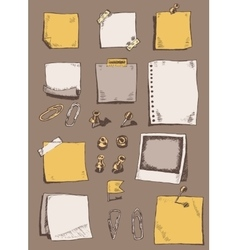 Pins pointers note papers clips sketch doodles vector