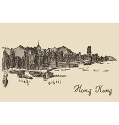 Hong kong skyline hand drawn sketch vector
