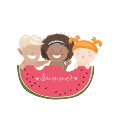 Funny children eating watermelon vector