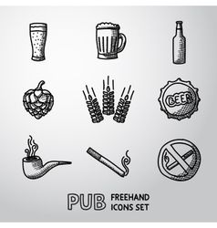 Pub beer handdrawn icons set vector