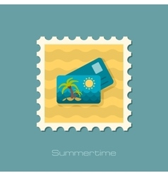 Card with palm flat stamp vector