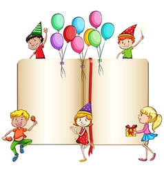 Children celebrating and a book vector