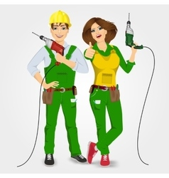 handyman and handywoman holding drills vector image