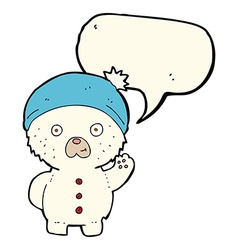 Cartoon waving polar teddy bear in winter hat with vector