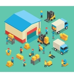 Isometric moving cargo and warehousing employees vector