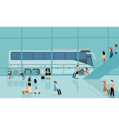 Bus terminal station bussy activities people vector