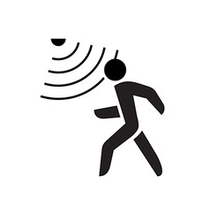 Walking man symbol with motion sensor waves signal vector