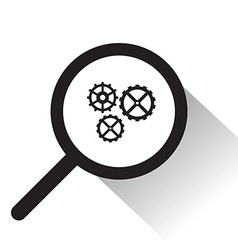 Magnifying glass with gear icon vector
