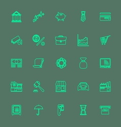 Banking and financial green color line icons vector