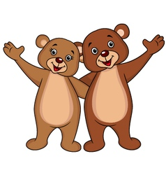 Bear couple cartoon waving hands vector image