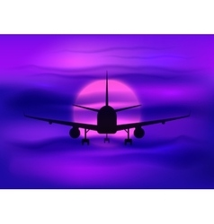 Black plane silhouette in dark purple sunset sky vector