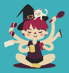 Cartoon witch multitasking vector
