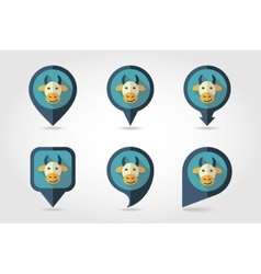 Cow mapping pins icons vector image