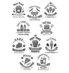 fast food icons set for restaurant menu vector image