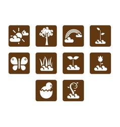 Flat color spring season icon set vector